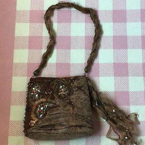 Mary Frances Satin Beaded Handbag